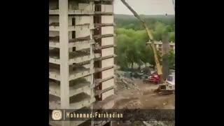 | نمونه ای از تخریب اصولی ساختمان |