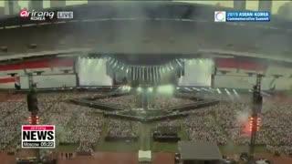 سخنرانی رئیس جمهور کره و پخش اجرای IDOL