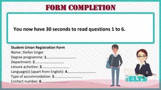 سوالات FORM COMPLETION لیسنینگ آزمون آیلتس