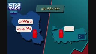 مقایسه مصرف بنزین در ایران و ترکیه