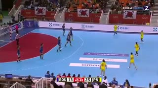 دیدار تیم های ملی هندبال رومانی و ژاپن درمسابقات هندبال قهرمانی جهان2019